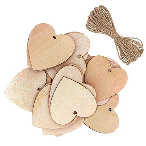 KongJies Corazones de madera, 10 piezas en forma de corazón de madera decoración para manualidades, regalo personalizado, decoración de boda (con cordón natural)