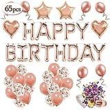 MMTX Décoration d'anniversaire en Or Rose pour Les Filles, Anniversaire Ballon Rose Kit Happy Birthday Ballon, 12 Ballons Confettis Rose Or, 32 Latex Ballon Rose Or, 4 Ballons Chiffre étoile Coeur