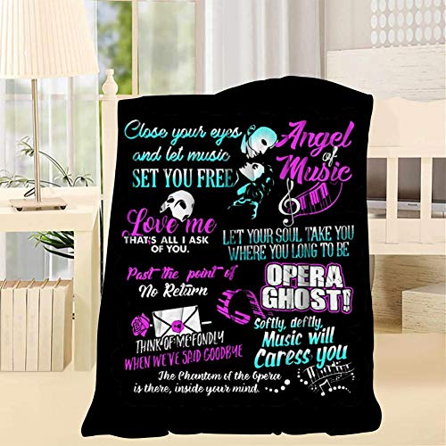 TRV0PFE Phantom Opera Best Quotes Super Soft Blanket 3D Fleece Woolen Blanket Warm for Adults and Children