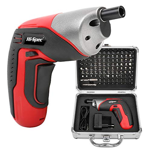 Hi-Spec 3.6V 1300mAh Rechargeable Li-ion Battery Cordless Electric Power Screwdriver with 4 LEDs. Including 102 Piece Set of Hex, Torx, Phillips, Slotted, Pozidriv, Tamper Proof and More Insert Driver Bits in a Neat Aluminium Shell Carry Case
