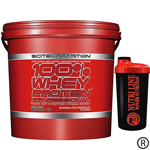 Scitec Nutrition 100% whey protein professional 5 kg Proteine del Siero del Latte + Shaker Nutriline + SCEGLI IL TUO GUSTO (CIOCCOLATO BIANCO E FRAGOLA)