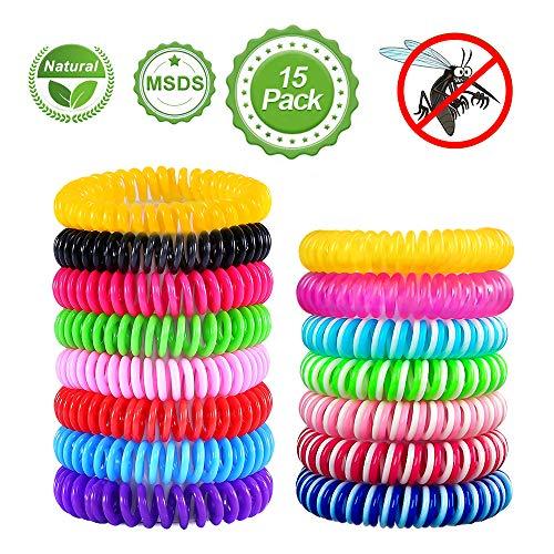 mixigoo Mückenschutz Armband, 15 Stück Mückenarmband natürlicher Anti mücken Moskito Armband für Kinder und Erwachsene, Outdoor Camping Reise Mosquito Repellent Bracelet