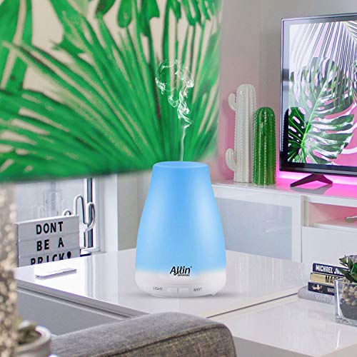 Allin Exporters DT-1508C Aromatherapy Diffuser Essential Oil 4 in 1 to Purify, Ionize, Humidify & Spread Aroma Ultrasonic Humidifier Cool Mist with 7 Different Color Changing LED Lights (100ml)