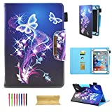 UGOcase 7 Inch Tablet Universal Case, Multi Angle Stand Folio Wallet Case Cover for Galaxy Tab A 7.0/Tab 4 7.0/Tab 3 Lite 7.0/Tab J 7.0/F i r e 7, RCA, iRulu, iView, 6.5-7.5 Tablet, Butterfly