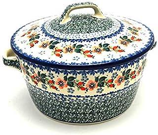 Polish Pottery Baker - Round Covered Casserole - Cherry Blossom
