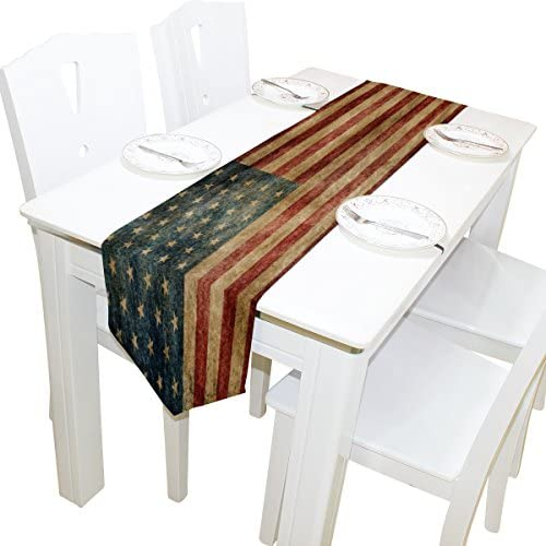 ALAZA Table Runner Home Decor Vintage American Flag Table Cloth Runner Coffee Mat for Wedding product image
