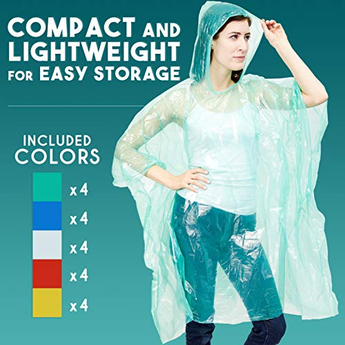 20-Pack Disposable Rain Ponchos, Adults Emergency Waterproof Raincoat with Hood for Camping, Hiking, Sport or Outdoors, 5 Colors (Pink, Blue, Yellow, Green, Clear), Individually Wrapped