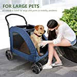 Pet Four-wheeled Stroller Dog Trolley Cat Carts Foldable for Medium Large Dogs Outgoing, Load Within 60kg (Blue) 14