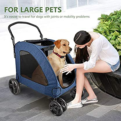 Pet Four-wheeled Stroller Dog Trolley Cat Carts Foldable for Medium Large Dogs Outgoing, Load Within 60kg (Blue) 7