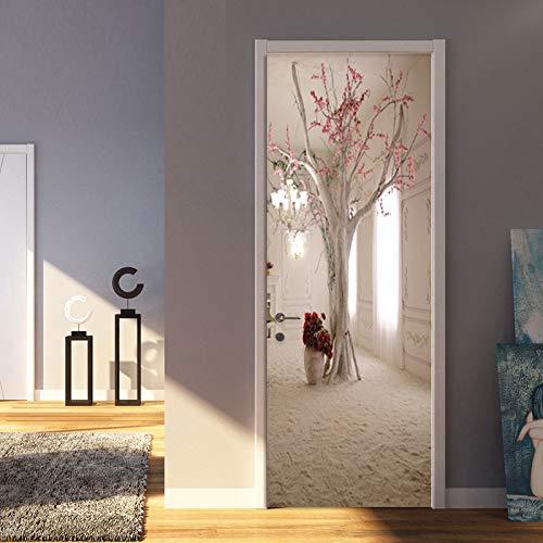 Yelilad Türtapete Selbstklebend TürPoster Tür Aufkleber Für Innentüren 3D Moderne Kreative Floral Baum Wand Wohnzimmer Esszimmer Tapete Romantische Wohnkultur Paste PVC Wasserdicht 95x215 cm