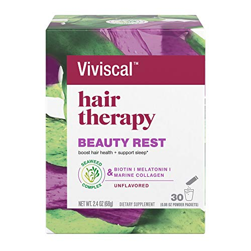 Viviscal Hair Therapy Beauty Rest Supplement Unflavored Powder Packets (Marine Collagen, Biotin, Melatonin), 30 Count