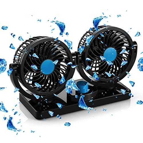 FiveJoy 360 Degree Rotatable Car Fan - 12V DC Electric 2 Speed Dual Head Fans, Quiet Strong Dashboard Cooling Air Circulator Fan for Sedan SUV RV Boat Auto Vehicles Golf or Home
