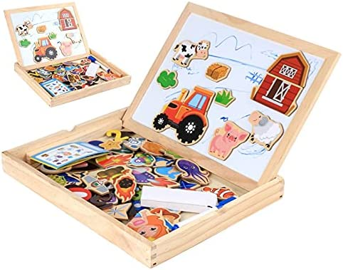 trend rank JIAQUAN-SHOP Easel Tampa Mall Multifunctional Wooden Chalkboard Animal Magn