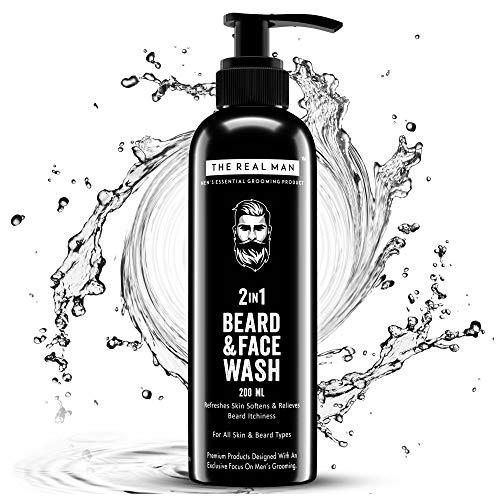 The Real Man 2 en 1 jabón para barba y cara, 200 ml. Con extracto de aloe vera | Neem & Vitamina E. 100% orgánico. Refresca la piel suaviza y alivia la picazón de la barba (paquete de 1)