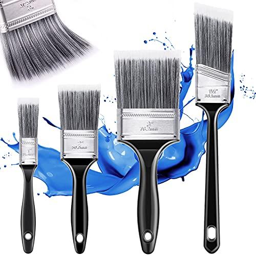 Emitever Pinsel Set 4-teilig, Malerpinsel für Präzise Malerarbeiten, Lasurpinsel für alle Untergründe, Lackpinsel ohne Borstenverlust, Wandfarbe Set Flachpinsel Hausmalpinsel