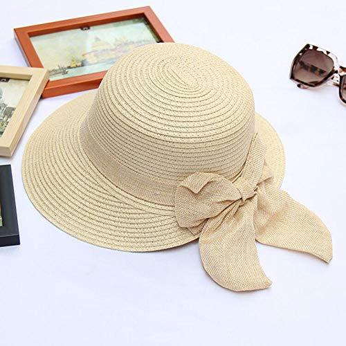 Sonnenhut Strohhut Hut Damen Mode Und Einfache Damen Sonnenschirm Strohhüte Damen Strandhüte-Beige_56-58Cm