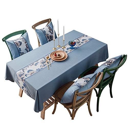 Mantel, Poliester Comedor para Exterior O Cubierta De Mesa De Interior Suave Resistente Al Agua Lavable para Una Cocina Comedor Mesa Buffet Decoracion,Azul,135 * 300cm/53\*118\