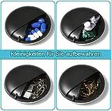 Pillendose klein, Opret Tragbare Reise-Pillendose zur Aufbewahrung kleiner Gegenstände (Schwarz) - 5