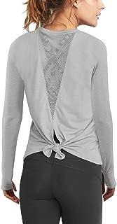Women's Long Sleeve Workout Shirts Mesh Open Back Yoga Tops Thumb Hole T Shirt