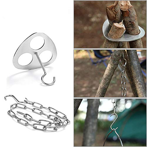 Ningsa Stainless Steel Campfire Support Plate with Adjustable Chain for Hanging Cookware - Perfect Accessories for Outdoor Cooking, Turn Branches into Campfire Tripod