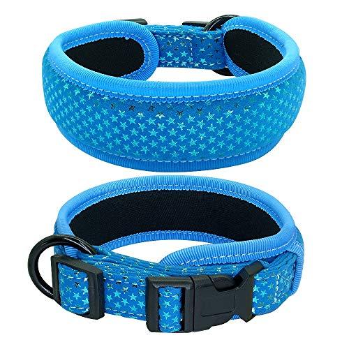 Einstellbar Weich gepolstertes Hundehalsband Dicke breite Hundehalsbänder Einstellbar for mittelgroße Hunde Beagle-Mops Rosa Schwarz Blau S M L Petshop (Color : Blue, Size : L)