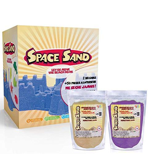 Leo & Emma Space Sand 1.8kg Set 50tlg. Formen Zahlen Buchstaben Burg Modellierwerkzeug Modellierwanne, kinetischer magischer Sand, viele Farben, TÜV getestet, Modell 2020 (0.9kg lila und 0.9kg braun)