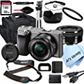 Sony Alpha a6000 (Graphite) Mirrorless Digital Camera with 16-50mm Lens + 32GB Card, Tripod, Case, and More (18pc Bundle) by Sony intl