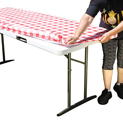 TableClothPLUS Checkerboard Red and White 72' Elastic Fitted Polyester Tablecloth, 6' Folding Table Size