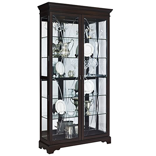"Pulaski Collection Sable Two Door Curio Display Cabinet, 44"" x 15"" x 81.5"", Poplar Brown"