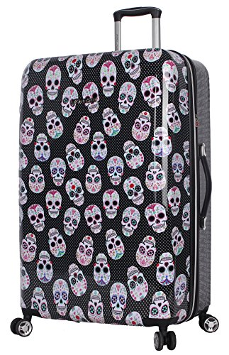 Betsey Johnson 30 Inch Checked Luggage Collection - Expandable Scratch Resistant (ABS + PC) Hardside Suitcase - Designer Lightweight Bag with 8-Rolling Spinner Wheels (Skull Party)