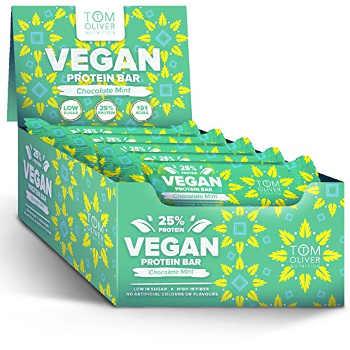 Tom Oliver Nutrition - Vegan High Protein Bars – Low Carb Healthy Keto Snack - Pack of 20 Bars (Chocolate Mint)…