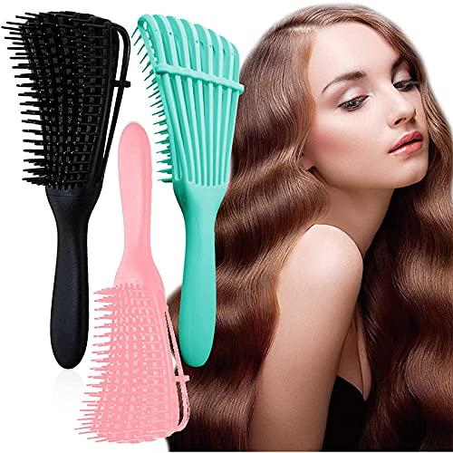 3 cepillos desenredantes, cepillo para el cabello, cepillo para cabello rizado, para cabello húmedo seco largo grueso rizado, pelo rizado