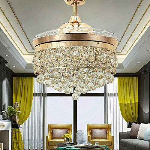 Lighting Groups 42' Invisible Crystal Ceiling Fans with LED...