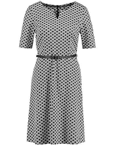 Taifun Damen Kleid Mit Allover-Print Tailliert Black Gemustert 44