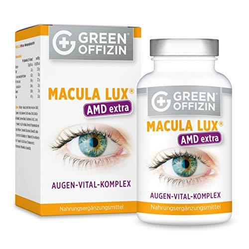 MACULA LUX AMD Extra Augen-Vitamine Kapseln Hochdosiert - Spezial Formel mit Lutein, Zeaxanthin, Lycopin, Vitamin A, C, B, Zink, DHA (120 Kapseln vegan)