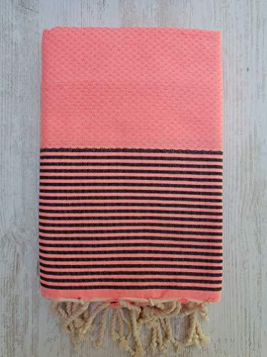 Toalla Fouta Miami, XL 100 x 200 cm, 100% algodón, 380 g Suave, Flexible, Absorbente y Ligera. Toalla de Playa, Mantel, sofá, Colcha, paréo, Picnic (Rosa neón, Negro)