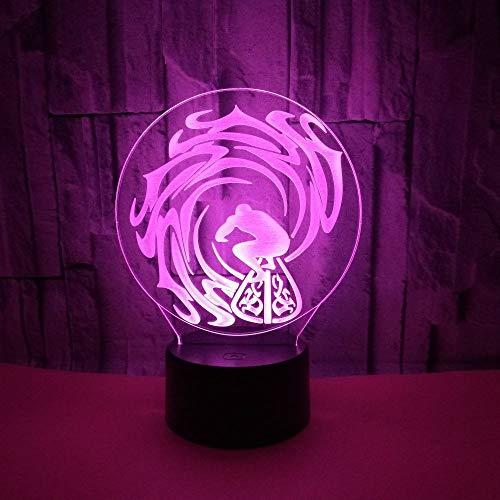 Hete creatieve geschenken, nachtlampje van de golf 3D, windsurfen 3D geeft het nachtlampje en surfde visuele kleine tafellamp 3D
