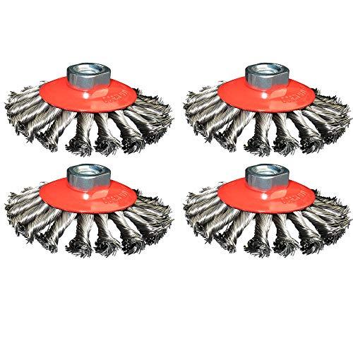 4x Kegelbürste 100mm Durchmesser gezopft für Winkelschleifer Aufnahme M14 Drahtbürste Rundbürste