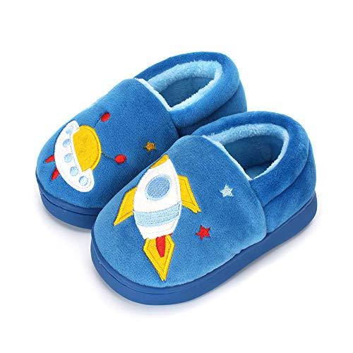 Boys Girls Warm Slippers Cartoon Rocket Kids Winter Indoor Household Shoes, Blue 11-12 Little Kid