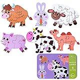 Puzzles de Madera, Rompecabezas de Madera(6 Pack), Puzzles de Madera Educativos para Bebé, Juguetes niños 1 año 2 3 4 5 6 años (Animal)