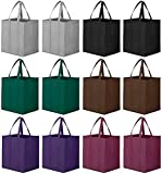 WiseLife Reusable Grocery Bags 12 Pack, Large Foldable Shopping Bags Tote Bags,Eco-Friendly Produce Bags with Long Handle for Shopping Groceries Clothes Vegetables Fruits(6 Assorted Colors )