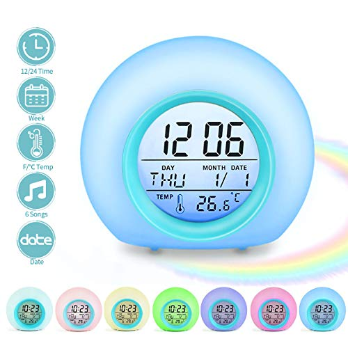 Jeteven Reloj Despertador Digital, Reloj Despertador para Niños Despertador de 7 Colores cambiantes, con Calendario de Temperatura, para Niños Niñas Dormitorio Escolar (Azul)