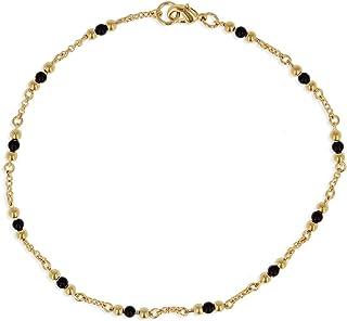 Les Trésors De Lily [Q2867 - Ankle chain placcato oro 'Billes' nero dorato - 25 cm 3 mm.