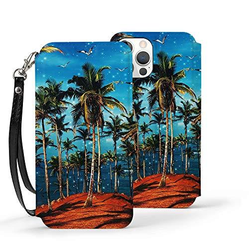 Serity Sea Island Coconut Tree Gaviota La funda de piel para iPhone 12 tiene 3 ranuras para tarjetas de crédito y una ranura para billetes más grande dentro de la cartera, Ip12-6.1