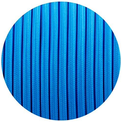 Cable eléctrico de seda trenzada estilo vintage italiano con 2 núcleos, color azul, 0,75 mm, iluminación del Reino Unido