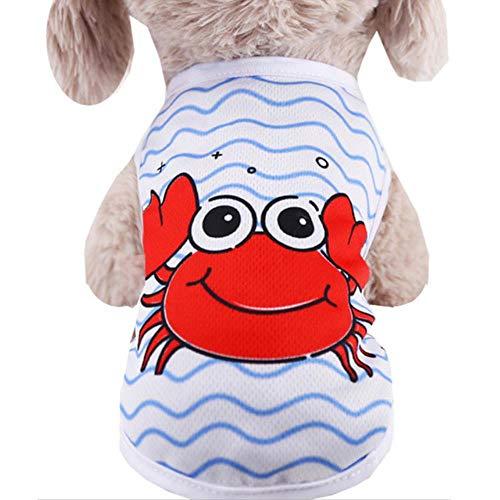Xinger schattige hondenkleding Zomer huisdier vest voor kleine honden Cartoon T-shirt Kostuum kattenkleding Shirt Zomer outfit voor puppy, krab, XXL