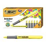 BIC Highlighter Grip, Subrayadores Fluorescentes con la Tecnología Antisecado, Óptimo para Uso Escolar y de Oficina, Amarillo, Paquete de 12