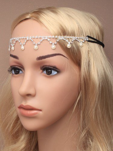 4765 Crystal diamante and pearl bead browband on a black elastic Wedding Party Prom by Inca