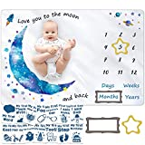 Baby Monthly Milestone Blanket for Baby Boy and Girl, Baby Photo Blanket for Newborn Baby Shower, Monthly Blanket for Baby Pictures, Photography Props, Capture Baby Growth and milestones,Large 60'x40'