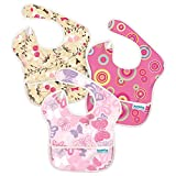 Bumkins Super - Pack de 3 baberos para niñas, diseño Pink Circles, Butterflies, Floral, 25 x 22 x 1 cm